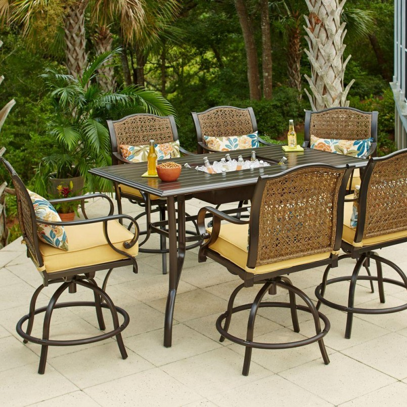 Bar Height Patio Sets | 4 Piece Wicker Patio Set | Outdoor Barstool
