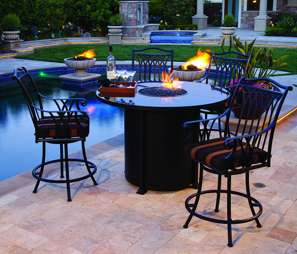 Bar Height Patio Sets | 9 Piece Patio Set | Small Patio Table with Umbrella Hole