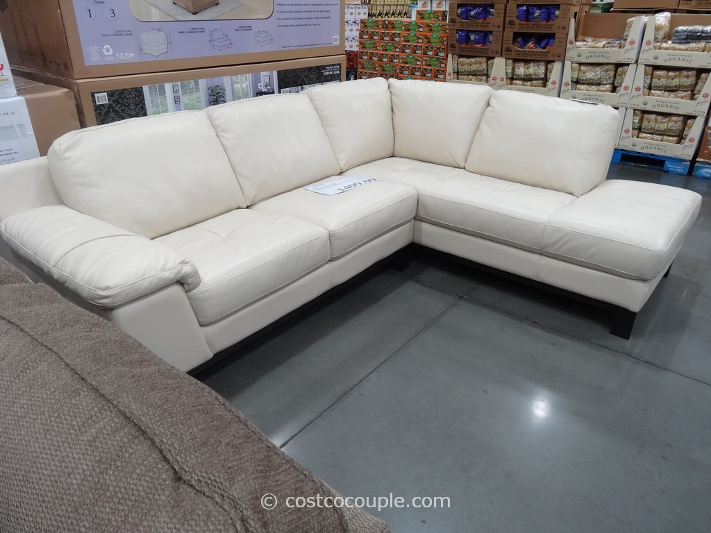 Furniture Genuine Leather Sectional With Chaise Sofa Bed Costco