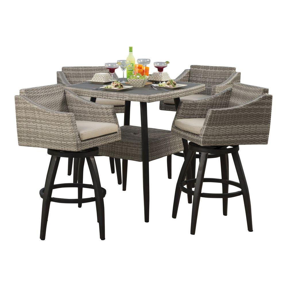 Lowes Bistro Set | 4 Piece Wicker Patio Set | Bar Height Patio Sets