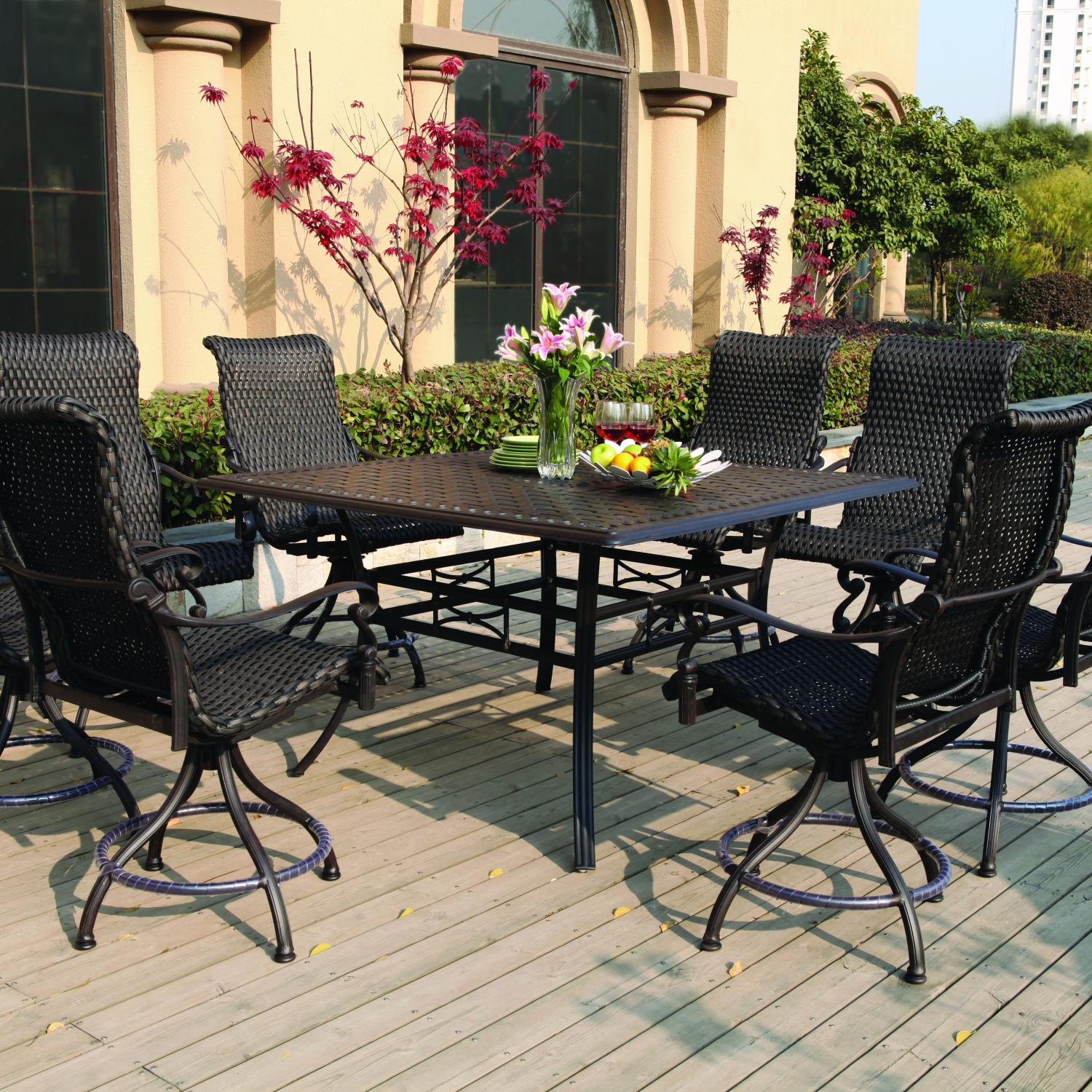 Lowes Bistro Set | Bar Height Patio Sets | Outdoor Coffee Table with Umbrella Hole