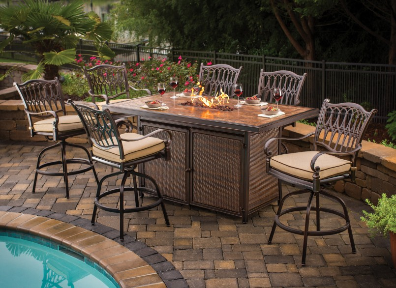 Outdoor Bar Height Table And Chairs | Bar Height Patio Sets | 4 Piece Wicker Patio Set