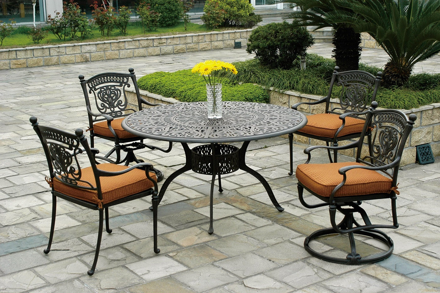 Outdoor Barstool | Bar Height Patio Sets | Small Patio Table with Umbrella Hole