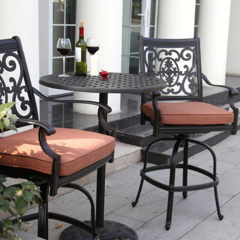 Outdoor Side Table With Umbrella Hole | Bar Height Patio Sets | Patio Furniture Under $300