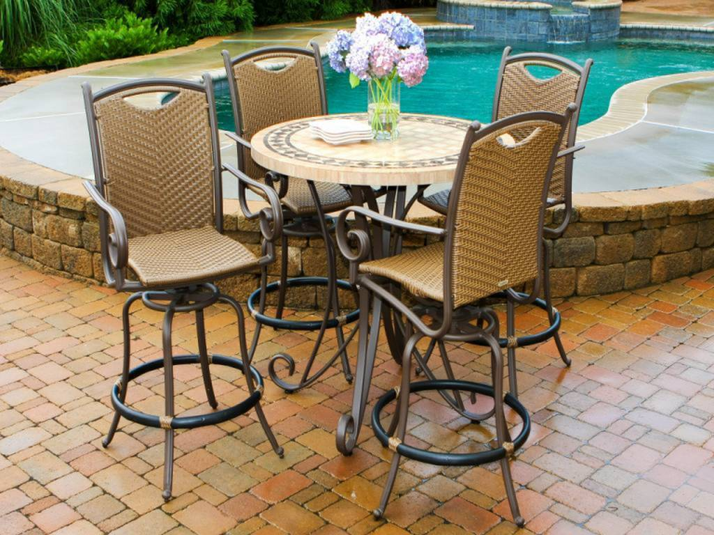 Patio Furniture Target | Outdoor Side Table with Umbrella Hole | Bar Height Patio Sets