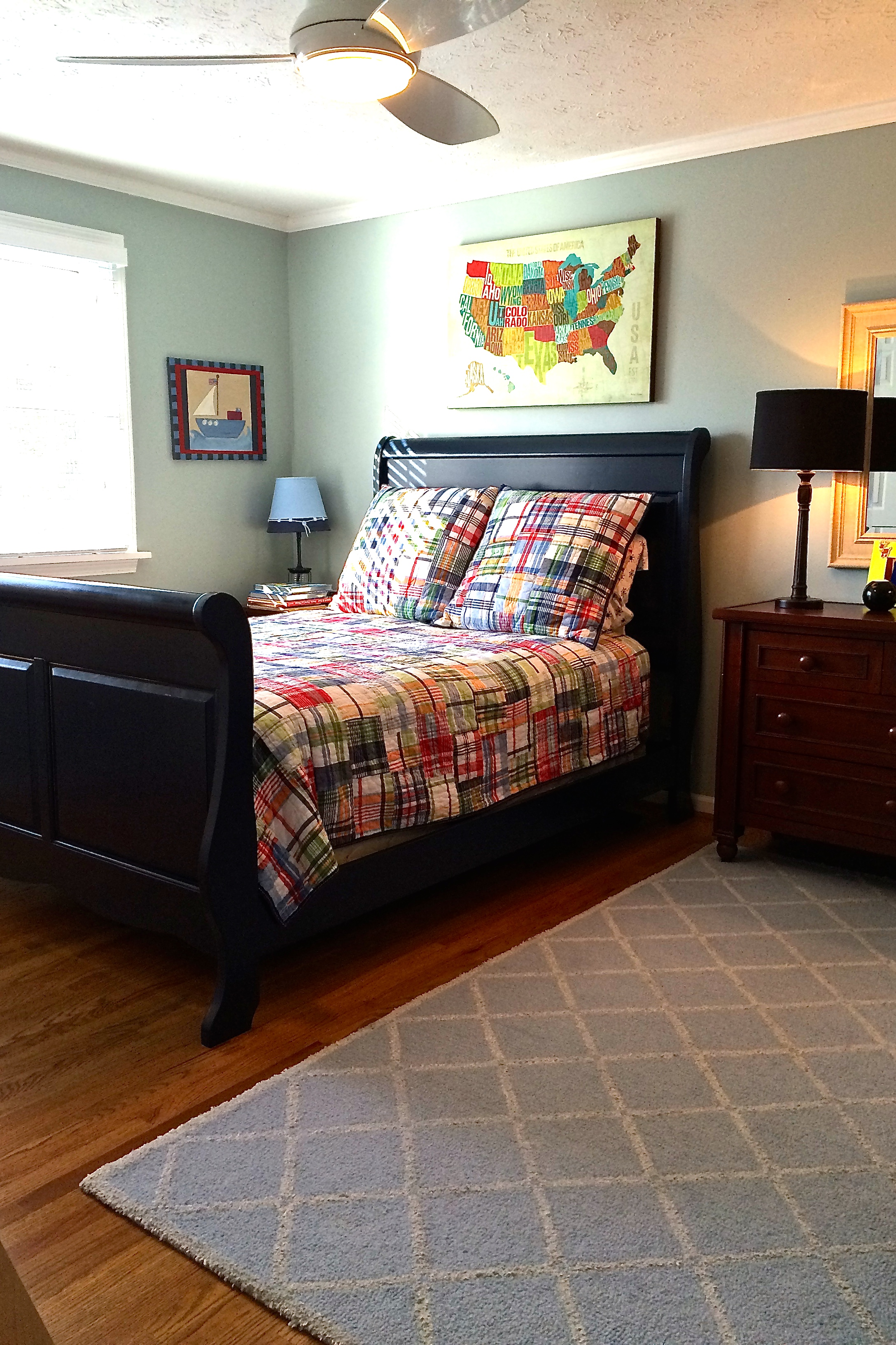 Pottery Barn Sleigh Bed | King Size Headboard and Frame | Bed with Built in Side Tables