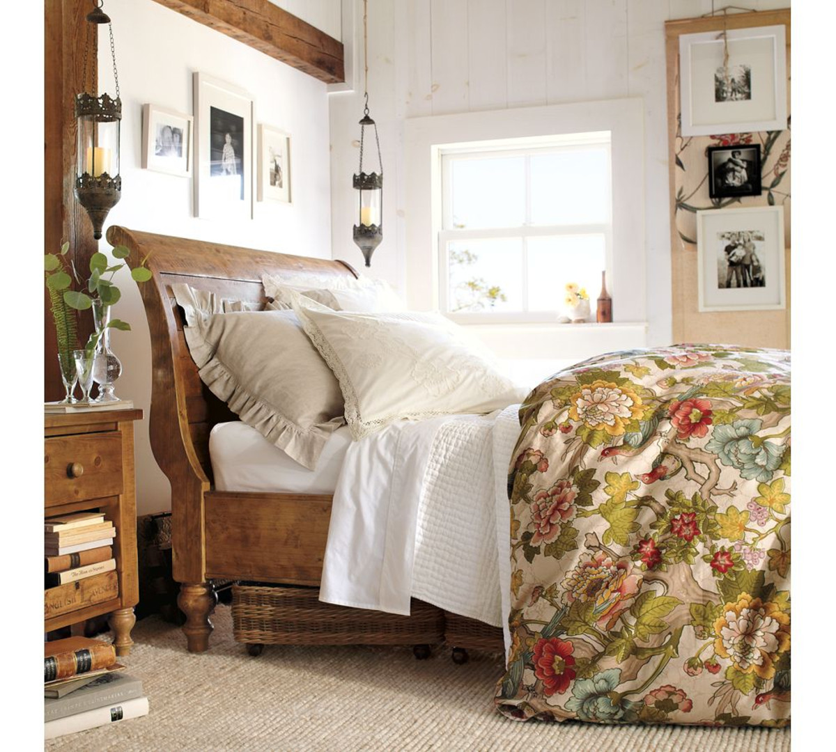 Pottery Barn Sleigh Bed | Queen Bed with Headboard | White Leather Sleigh Bed Frame