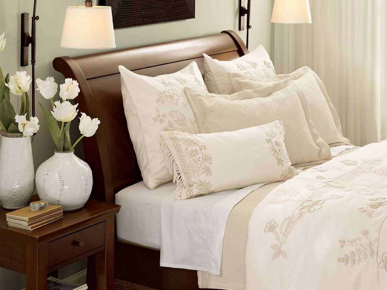 Pottery Barn Sleigh Bed | Upholstered Bed Frames | Wood Headboard for Queen Size Bed