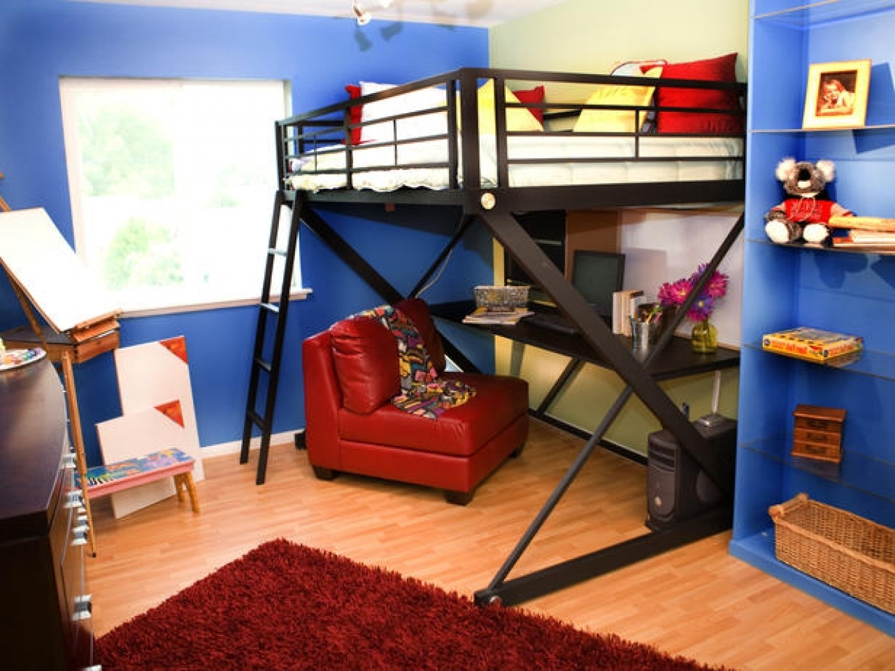 Studio Triple Corner Loft Bed | Make Bunk Beds | Bunk Beds for Small Rooms