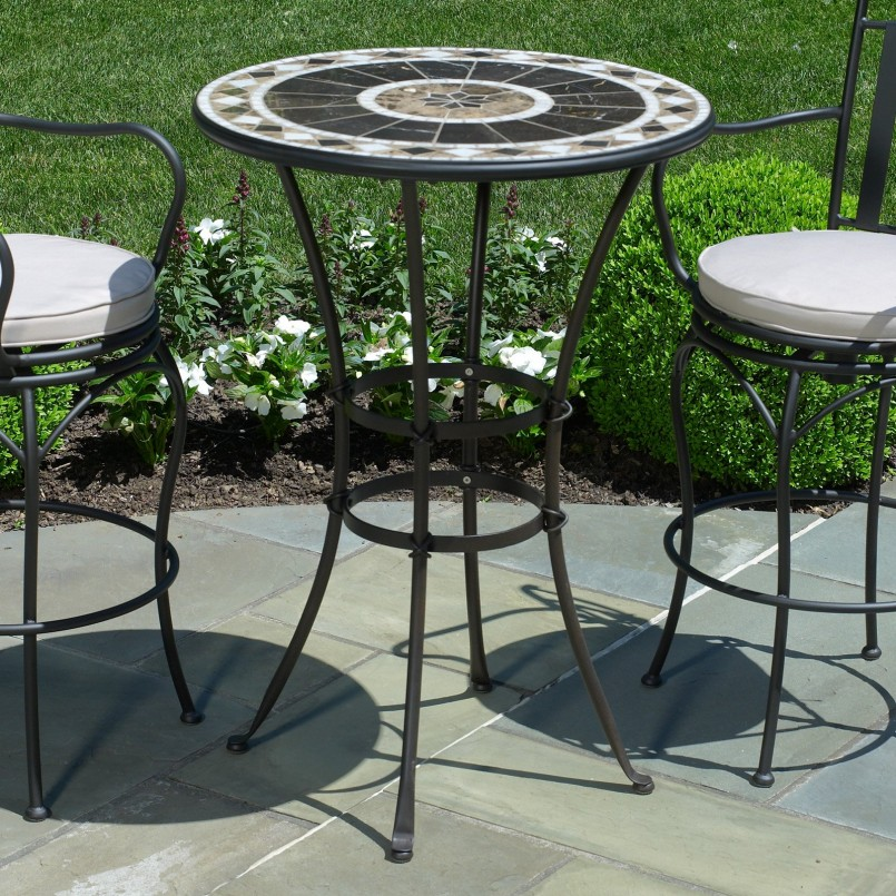 Wrought Iron Bistro Chairs | Bar Height Patio Sets | 5 Piece Bar Height Patio Set