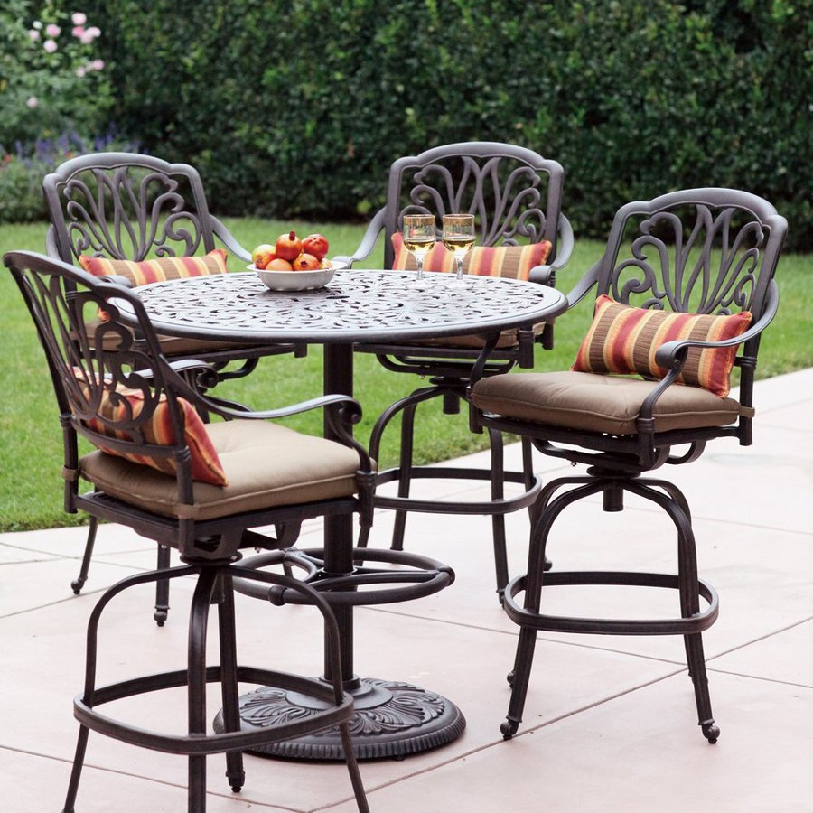 Wrought Iron Bistro Table | Bar Height Patio Sets | Bar Height Patio Set with Swivel Chairs