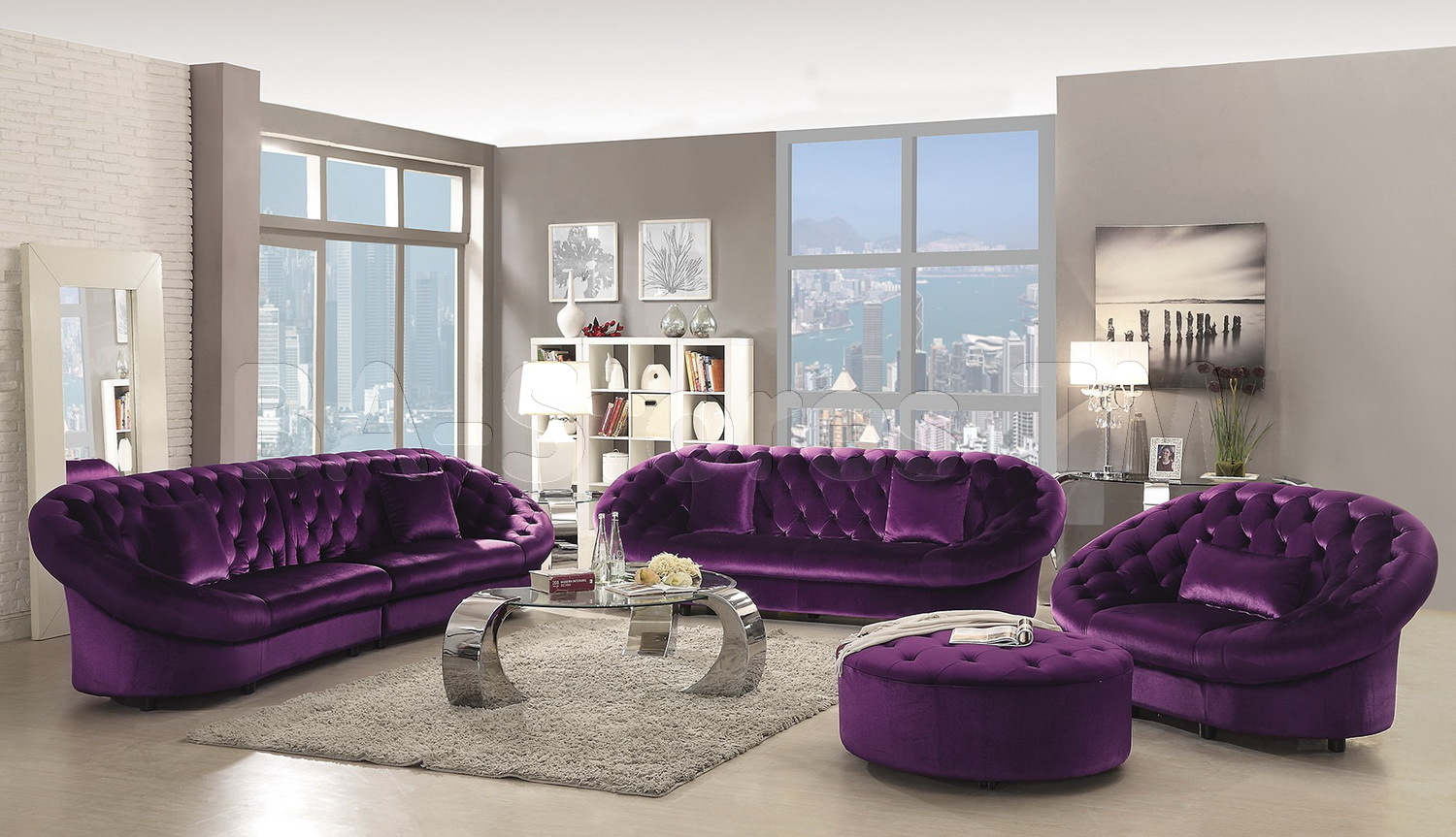Affordable Tufted Sofa | Mauve Sofa | Purple Sofa