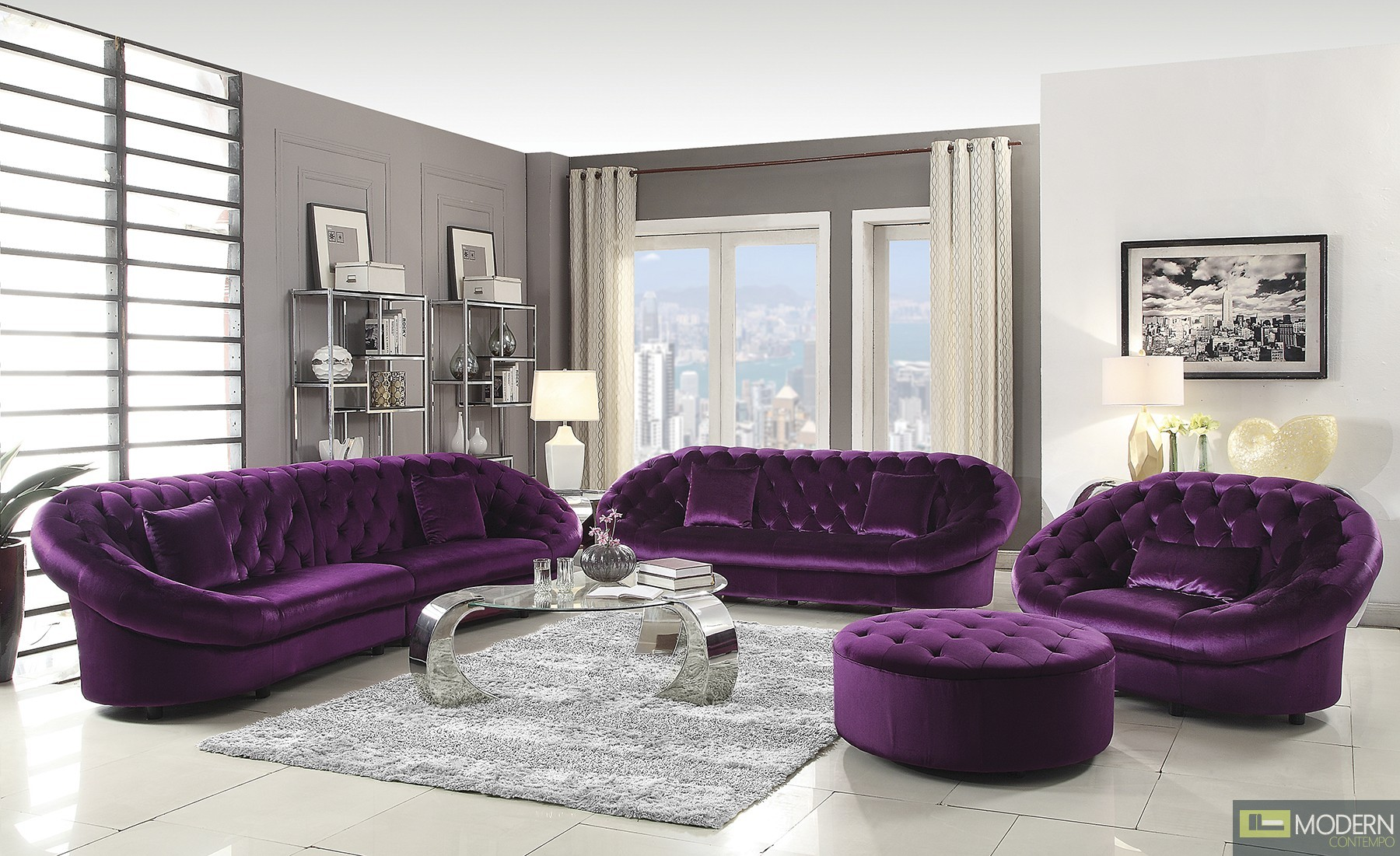 Warm Purple Sofa to Complete Your Living Room Decor: Aubergine Couch | Lavender Chaise Lounge | Purple Sofa
