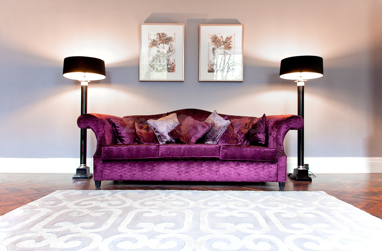 Warm Purple Sofa to Complete Your Living Room Decor: Aubergine Couch | Purple Sofa | Crushed Velvet Couch