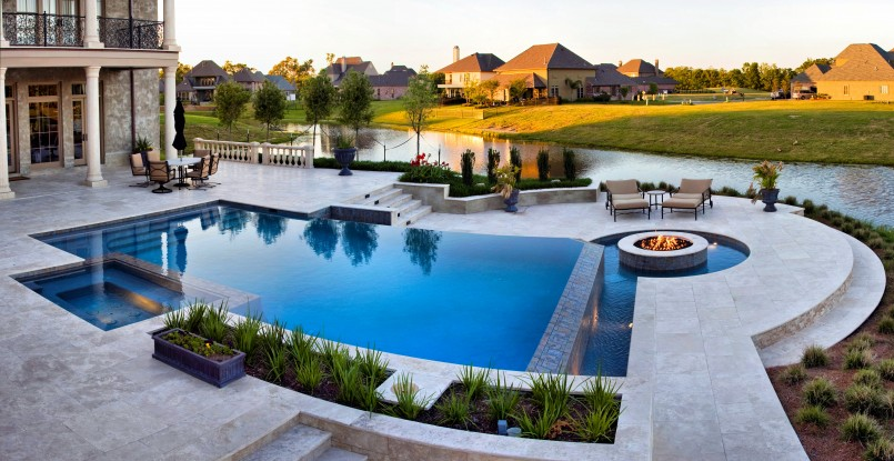 Backyard Pool Designs | Decks For Inground Pools | Poolside Fireplace