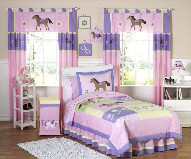 Horse Bedding For Girls | Pony Comforter Set | Boys Cotton Duvet Covers