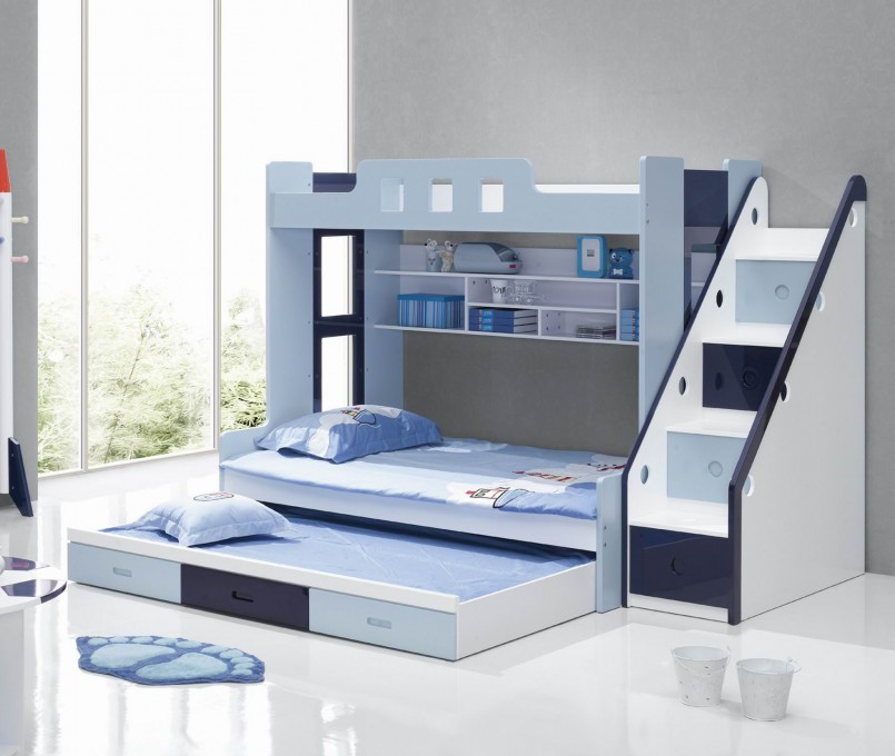Loft Bed With Trundle | Full Over Full Size Bunk Beds | Modern Bunk Beds