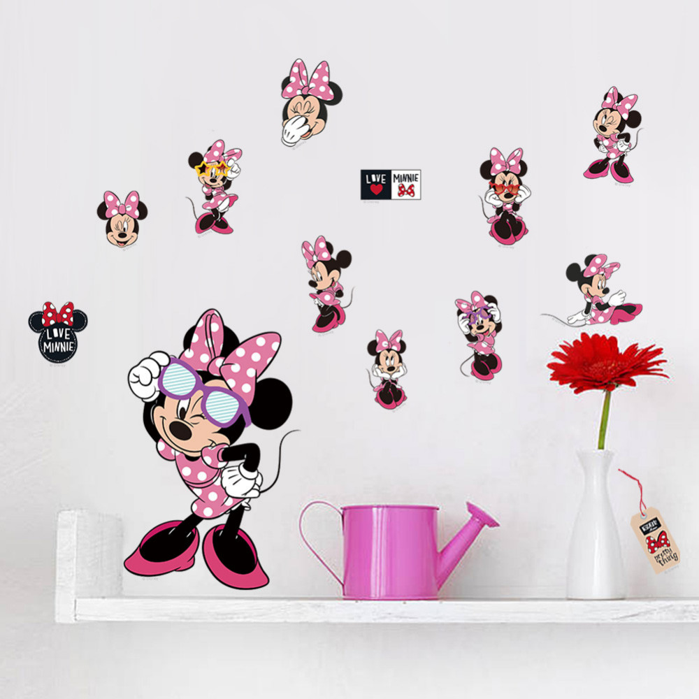 Minnie and Mickey Mouse Wall Stickers | Minnie Mouse Wall Decor | Minnie Mouse Wall Mural