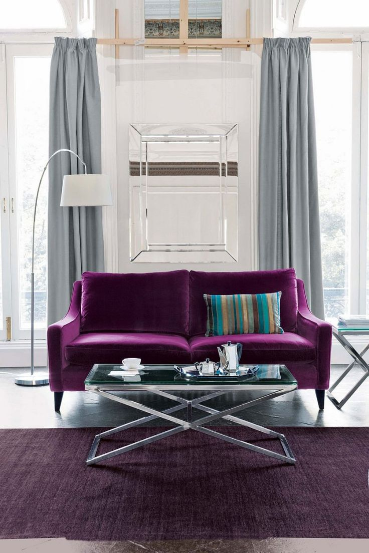 Warm Purple Sofa to Complete Your Living Room Decor: Purple Chenille Sofa | Purple Sofa | Purple Sofa And Loveseat