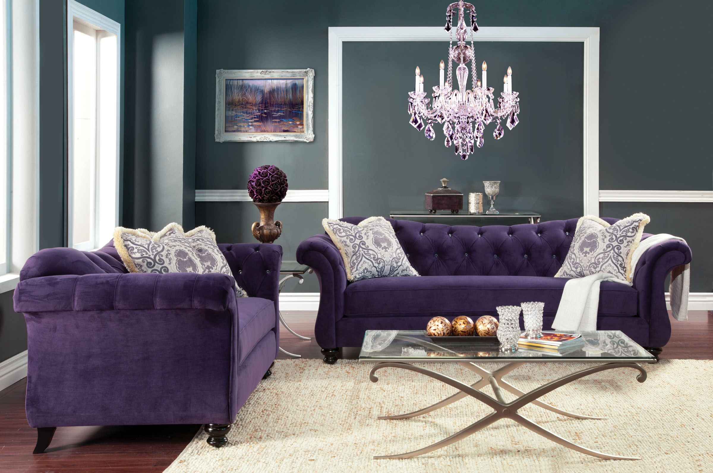 Purple Chesterfield Sofa | Plum Colored Sofa | Purple Sofa