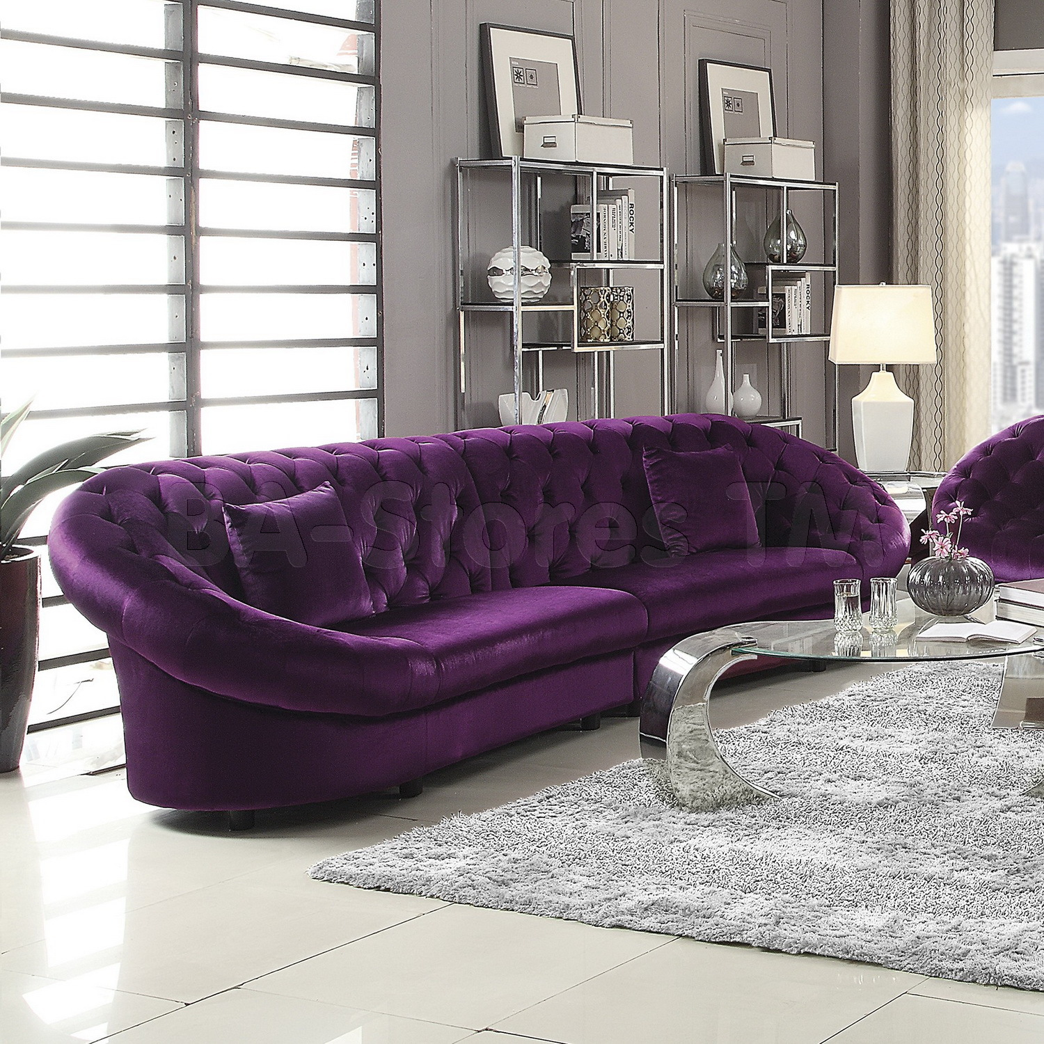 Purple Chesterfield Sofa | Purple Sectional Couch | Purple Sofa