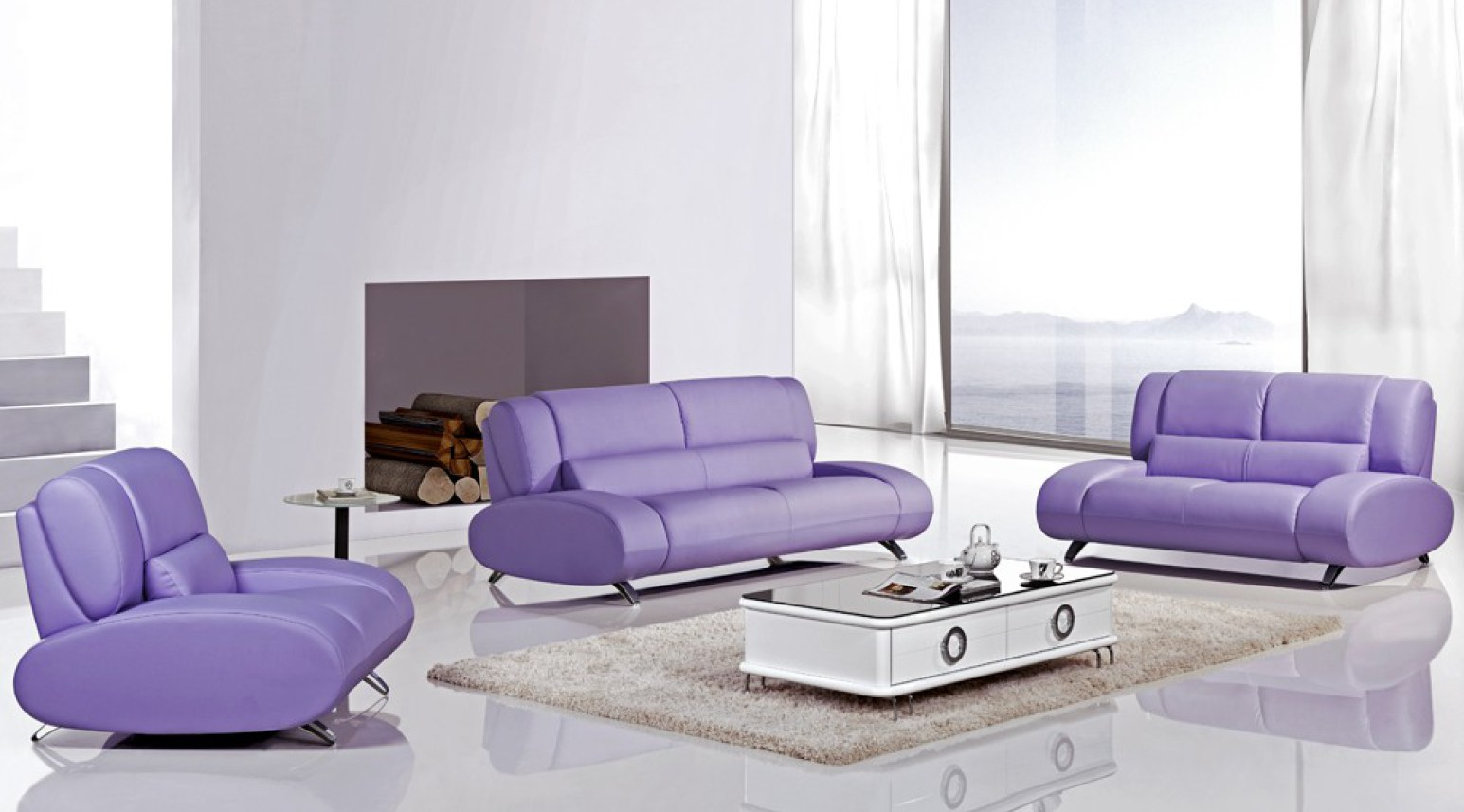 Warm Purple Sofa to Complete Your Living Room Decor: Purple Fainting Couch | Living Room With Purple Sofa | Purple Sofa