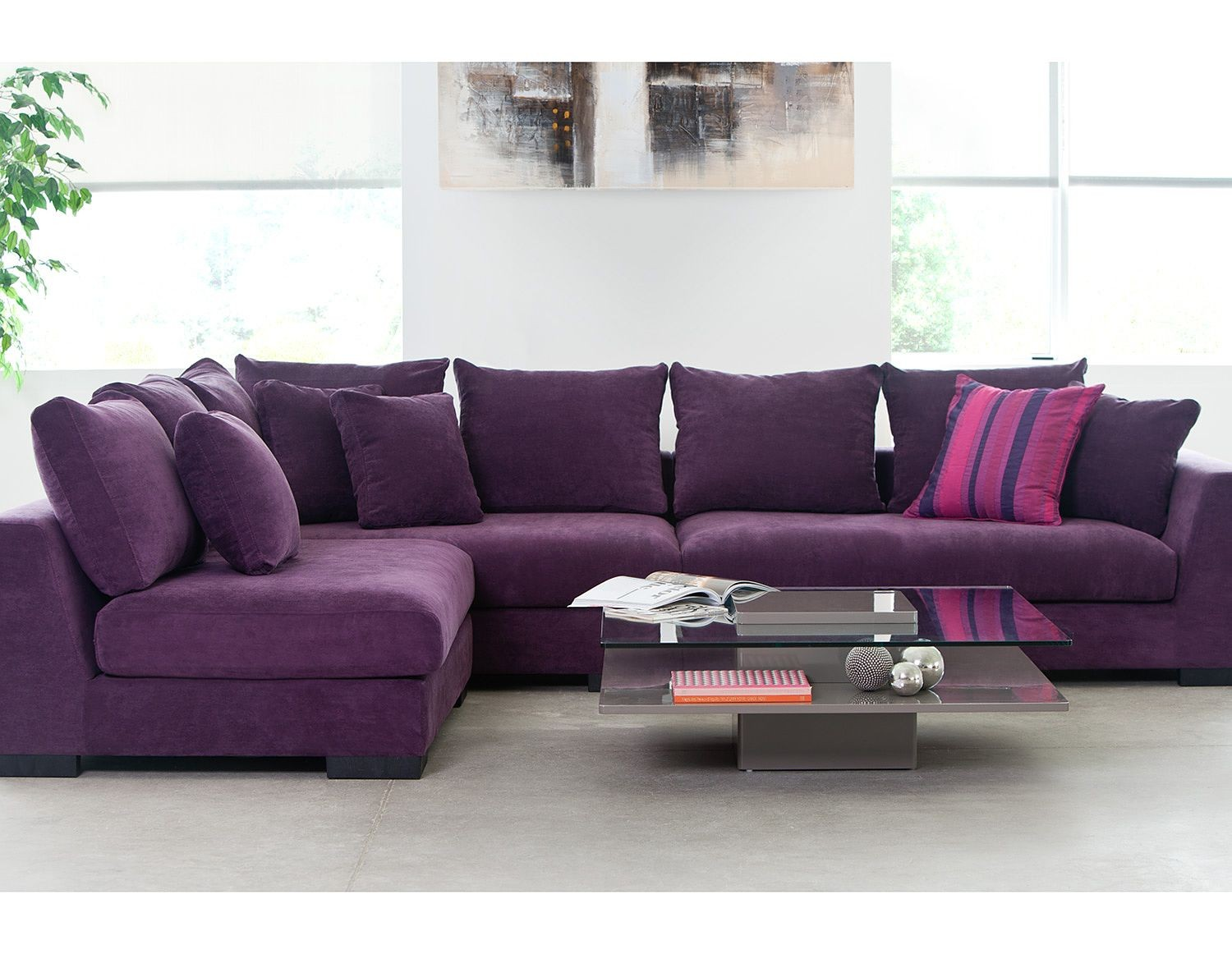 Warm Purple Sofa to Complete Your Living Room Decor: Purple Sofa | Living Room With Purple Sofa | Aubergine Couch